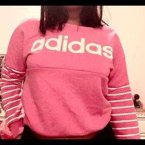 ADIDAS pink cropped sweat shirt
